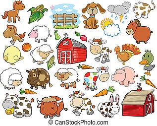 elementos, granja, vector, diseño, animal