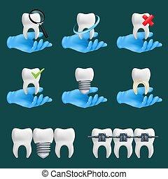 elementos, iconos, conjunto, tenencia, realista, vector, manos, diferente, cerámico, ilustración, dientes, services., protector, llevando, sitio web, guantes, dental, azul, vario, modelos, 3d, quirúrgico, dentista