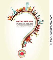 elementos, iconos, turismo, signo de interrogación, viaje, dónde