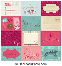 elementos, invitación, -for, vector, diseño, boda, álbum de recortes