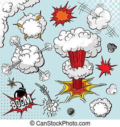 elementos, libro, explosión, cómico