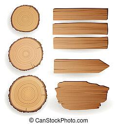 Elementos materiales de madera del vector