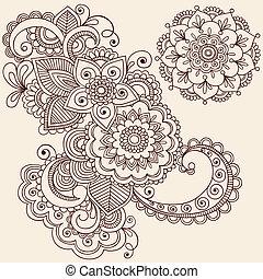 elementos, mehndi, diseño, tatuaje, alheña
