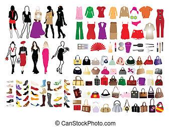 elementos, mujeres, moda