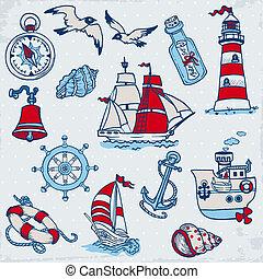 Elementos Nauticales para el álbum de recortes y diseño en vector