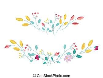 elementos, plano de fondo, vector, blanco, diseño, floral, aislado