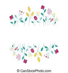 elementos, plano de fondo, vector, marco, blanco, diseño, floral