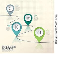 elementos, resumen, papel, moderno, marca, ubicación, infographic