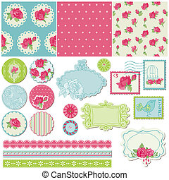 elementos, rosa, -, vector, diseño, álbum de recortes, flores