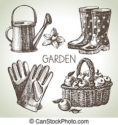 elementos, set., jardinería, bosquejo, diseño, mano, dibujado