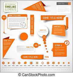 elementos, timeline, /, infographic, plantilla, naranja