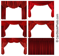 elementos, viejo, elegante, dramático, formado, teatro, rojo, etapa