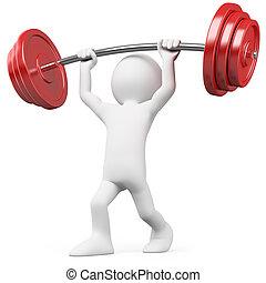 elevación, atleta, pesas
