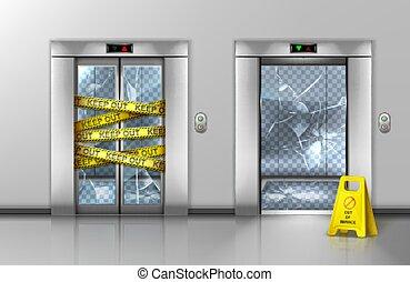 elevadores, mantenimiento, vidrio, cerrado, roto