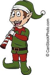 Elfo con trompeta navideña