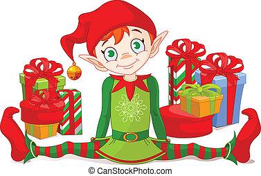 Elfo navideño con regalos