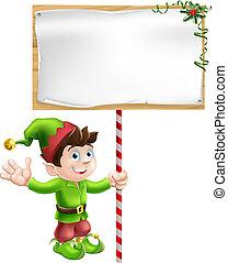 Elfo navideño con signo