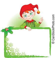 Elfo navideño invita a la tarjeta
