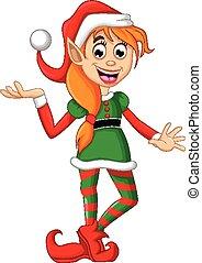 Elfo navideño posando