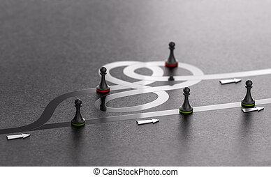 Eligiendo el mejor camino hacia adelante, concepto