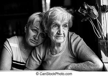 ella, adulto, negro, photo., abuela, daughter., blanco