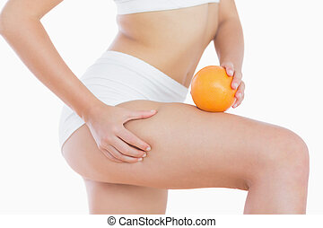 ella, cellulite, apretones, naranja, piel, muslo, mujer, asideros