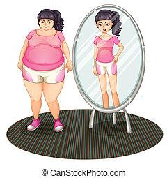 ella, delgado, grasa, versión, espejo, niña