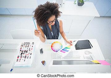 ella, escritorio, bastante, trabajando, diseñador