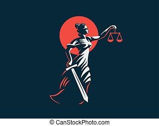 ella, justicia, pesas, diosa, manos, espada, themis