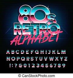 ella/los/las de 80, alfabeto, cartas, efecto, retro, numbers., metálico, tipo, font.