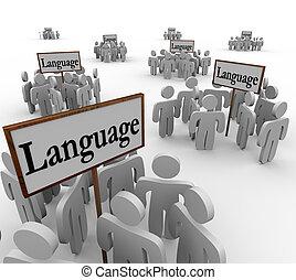 ellos, palabra, alrededor, idioma, gente, muchos, reunido, diferente, diverso, grupos, señales, comunidades, culturas, ilustrar