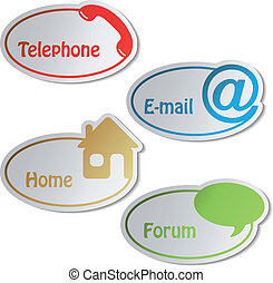 email, foro, -, vector, teléfono, banderas, hogar