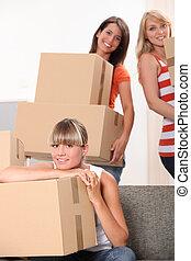 embalaje, cajas, flat-mates, hembra, tres