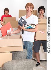 embalaje, cajas, muchachos