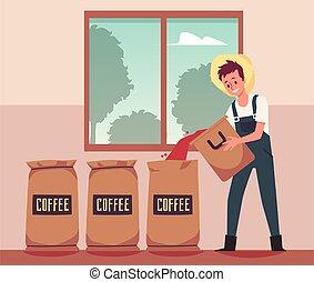 embalaje, sacos, cosecha, illustration., café, vector, plano, frijoles, granjero