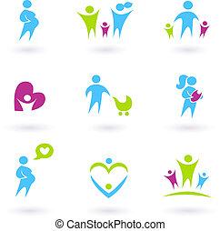 Embarazo, Familia y Padre, iconos aislados en blanco
