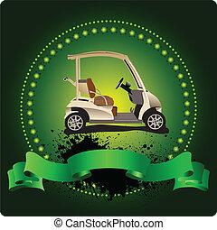 emblem., golfista, club, illustra, vector