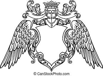 emblema, alado