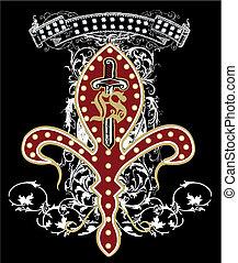 emblema, arma, diseño, espada