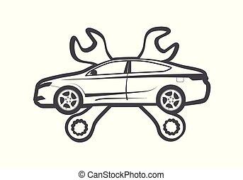 Emblema de servicio de reparación de coches como escudo de armas cruzado