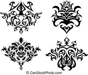 emblema, gótico, conjunto
