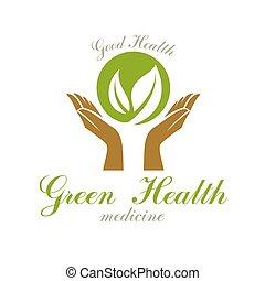 emblema, médico, manos, centro, primavera, verde, uso, tema, resumen, salud, social, advertisement., cuidado, tenencia, moderno, leaves.