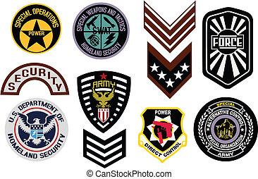 emblema, militar, insignia, protector, logotipo