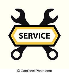 Emblema para el servicio de reparaciones de mecánica, electrónica o software