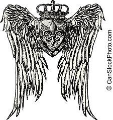 emblema real, ala, tatuaje