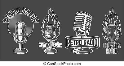 emblemas, conjunto, viejo, logotipo, ilustración, vector, micrófono, elementos, fondo., estilo, blanco, etiqueta, diseño, signo., aislado