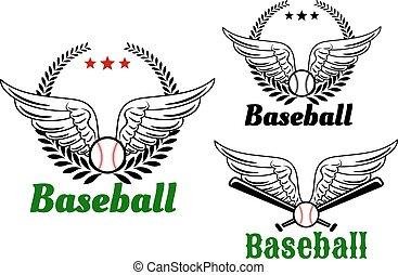 emblemas de béisbol con alas de ángel