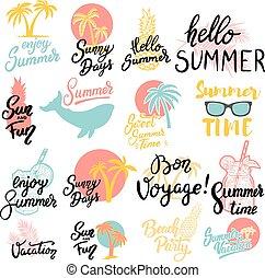 emblemas de verano. Un conjunto de frases dibujadas a mano sobre fondo blanco. Diseño para poster, tarjeta de felicitación. Ilustración de vectores
