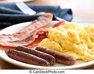 embutido, huevos, revuelto, bacon., desayuno, comida