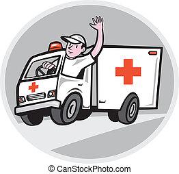 emergencia, conductor de ambulancia, ondulación, vehículo, caricatura